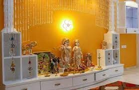 Pooja room in Yellow